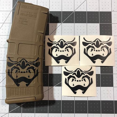 Samurai Mempo Mask Vinyl Sticker 3 pack or 6 pack