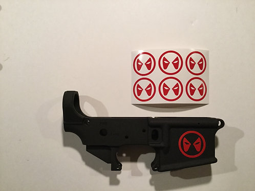 Deadpool Mask Symbol AR 15 Receiver Sticker 6 Pack