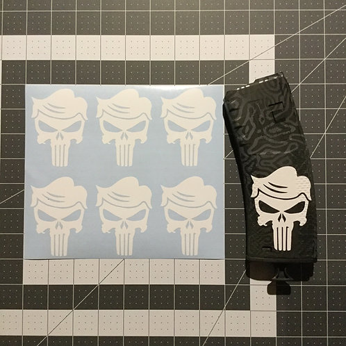 Punisher Skull with Trump Hair AR Mag Sticker 6 Pack
