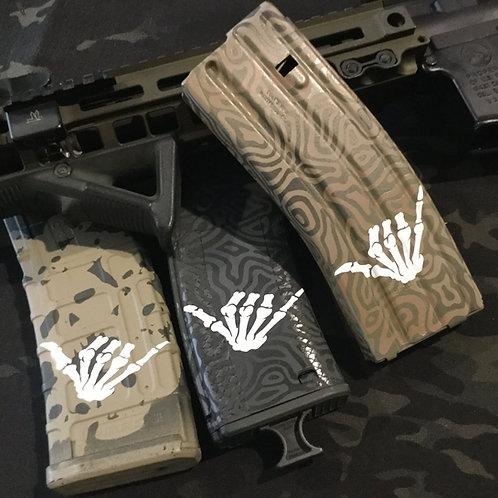 Hang Loose Skeleton Hand AR Mag Sticker 6 Pack