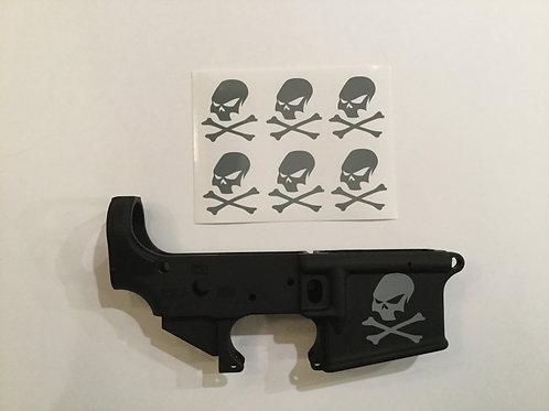 Slant Skull and Crossbone AR 15 Receiver Sticker 6 Pack