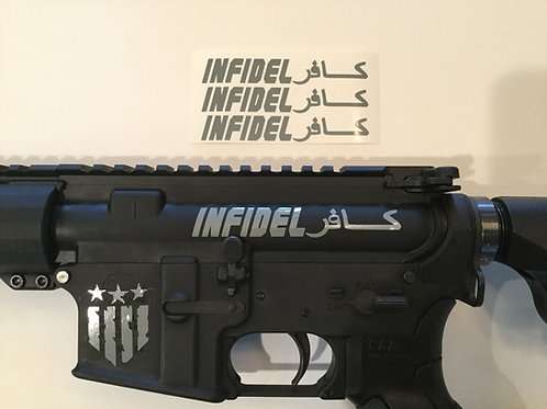Infidel AR 15 Upper Receiver Sticker 3 Pack