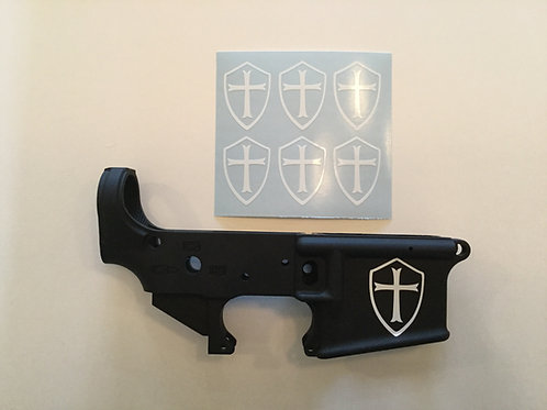 Templar Crusader Cross AR 15 Receiver Sticker 6 Pack