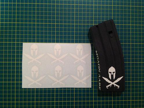 Spartan Helmet and Cross Swords Sticker 6 Pack