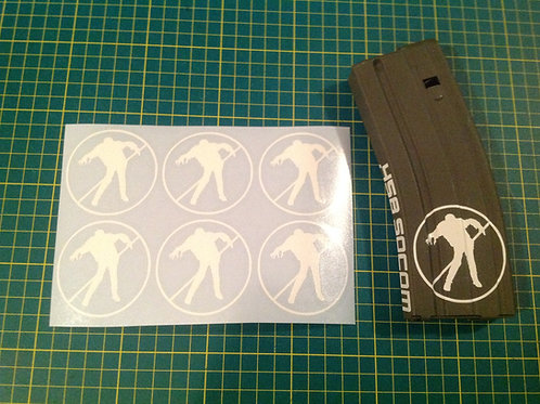 No Zombie Zone Sticker 6 Pack