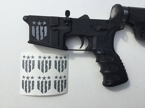 War Torn Patriotic Flag Shield AR 15 Receiver Sticker 6 Pack