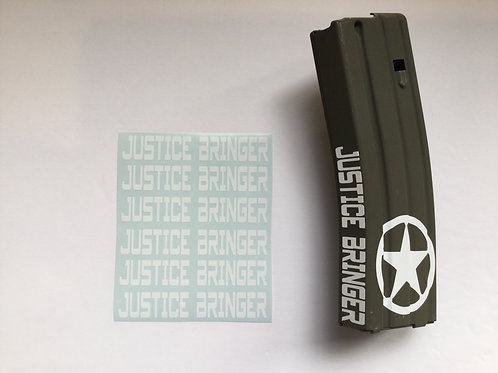Justice Bringer AR Mag Side Sticker 6 Pack