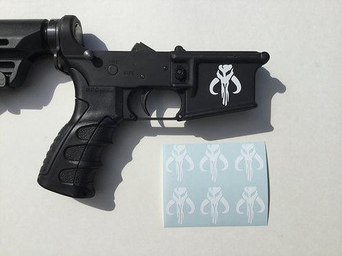 Bounty Hunter Symbol/ Mandalorian Symbol AR 15 Receiver Sticker 6 Pack