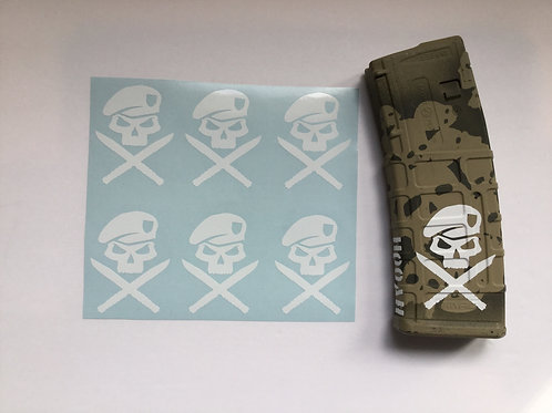 Special Forces Skull and Cross Knives AR Mag Sticker 6 Pack
