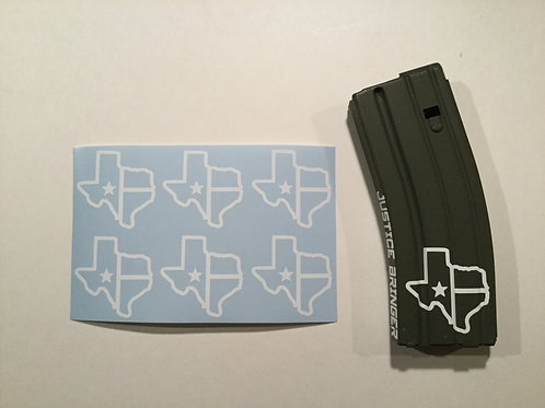 Texas State Flag AR Mag Sticker 6 Pack