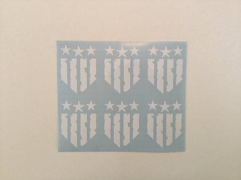 War Torn Patriotic Flag Shield Sticker 6 Pack