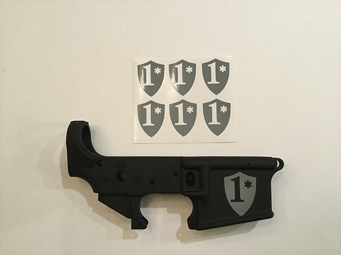 One Asterisk (A** to risk) AR 15 Receiver Sticker 6 Pack