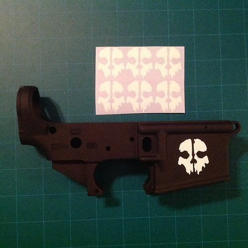 COD Ghosts Skull AR 15 Receiver Sticker 6 Pack