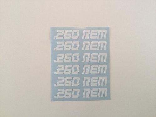 .260 REM AR Mag Side Sticker 6 Pack