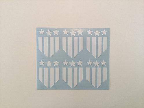 Patriotic Flag Shield Sticker 6 Pack
