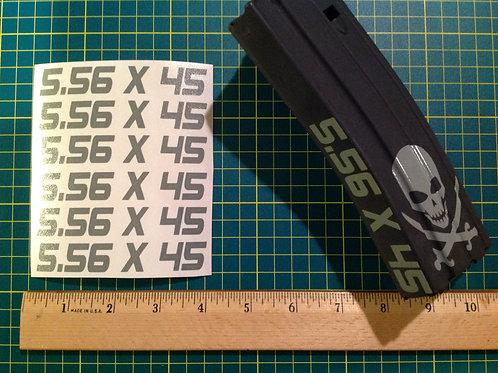 5.56 x 45 AR Mag Side Sticker 6 Pack