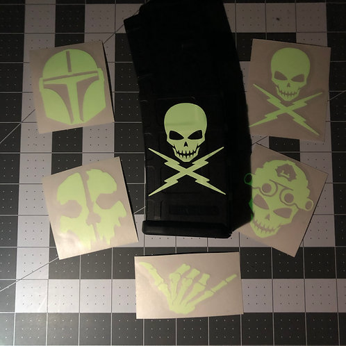 Glow In The Dark Single Stickers (Various Designs)