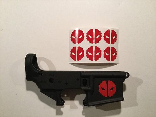 Grunge Deadpool Symbol AR 15 Receiver Sticker 6 Pack