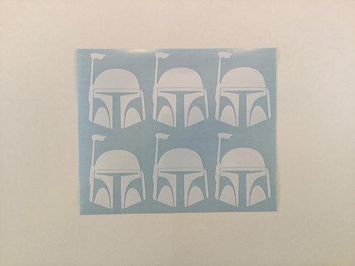 Boba Fett Helmet Sticker 6 Pack