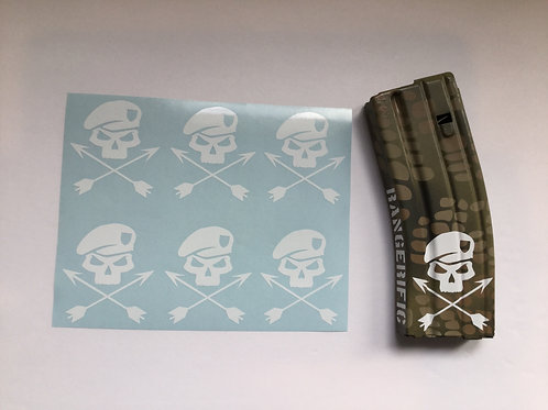 Special Forces Skull and Cross Arrows AR Mag Sticker 6 Pack