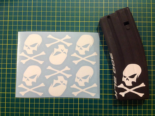 Slant Skull and Crossbones Sticker 6 Pack