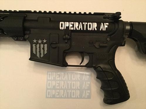 Operator AF AR 15 Upper Receiver Sticker 3 Pack