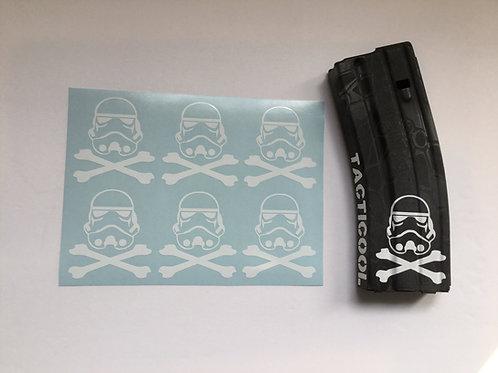 Storm Trooper Crossbones AR Mag Sticker 6 Pack