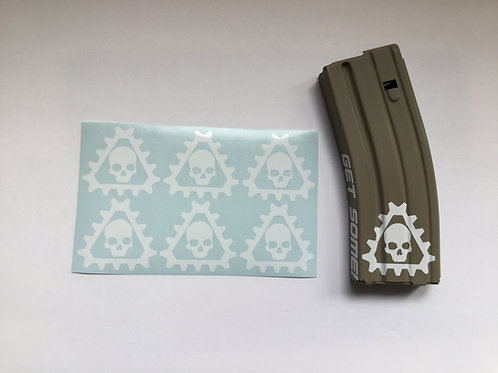 Triangle Gear and Skull AR Mag Sticker 6 Pack