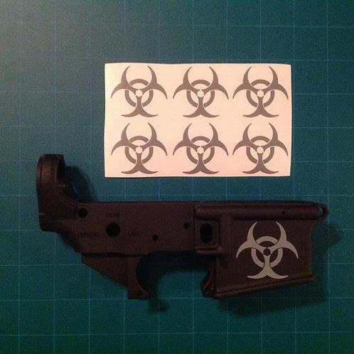 Bio-hazard AR 15 Receiver Sticker 6 Pack