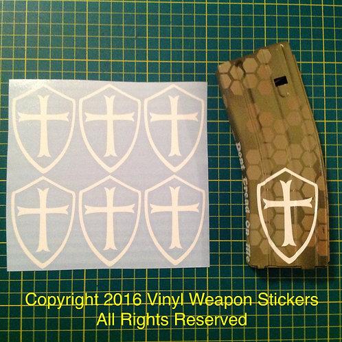 Knights Templar Cross Sticker 6 Pack