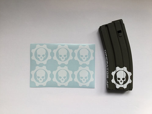 Circle Gear and Skull AR Mag Sticker 6 Pack