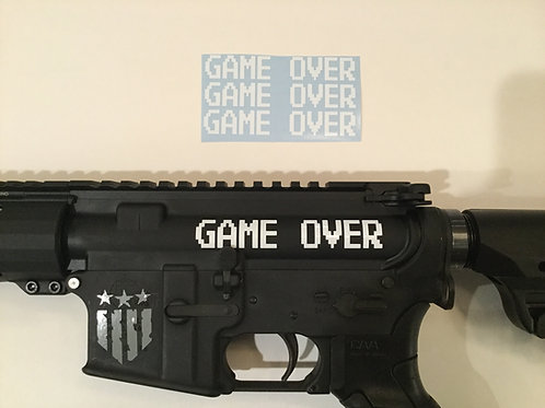 Game Over AR 15 Upper Receiver Sticker 3 Pack