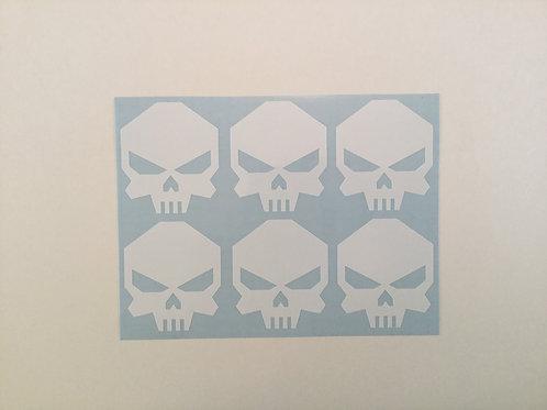 Angled Skull Sticker 6 Pack