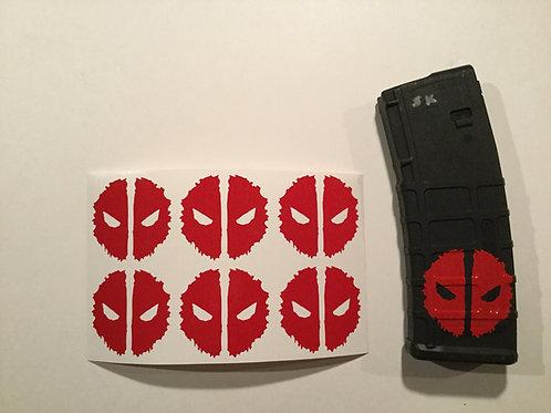 Grunge Deadpool Symbol AR Mag Sticker 6 Pack