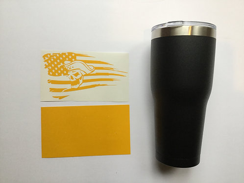 Tattered Flag with Colonial Skull Tumbler or Growler Stencil
