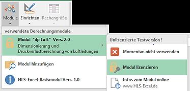 Excel-Menüleiste Basismodul - Modul lizenzieren