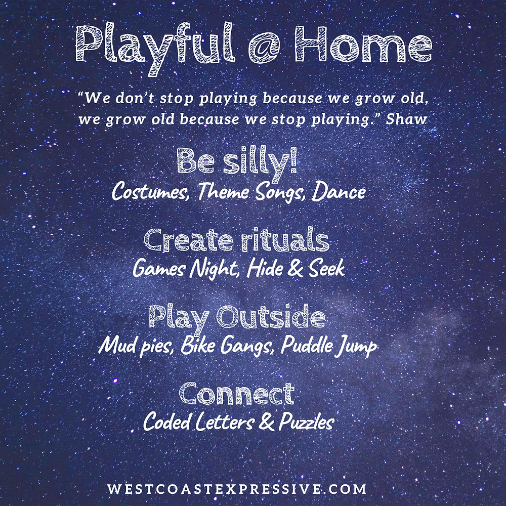 A break down of highlights in the video on how to be more playful at home
