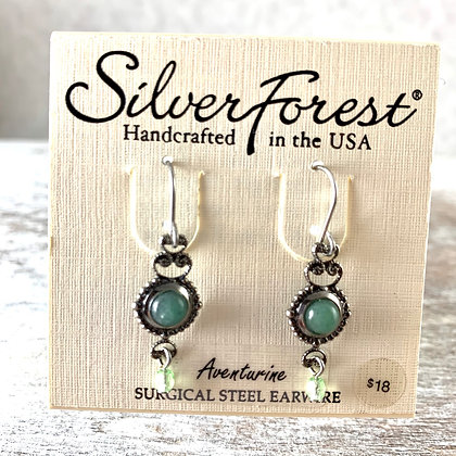 """Silver Forest"" Aventurine Earrings"
