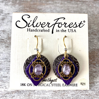 """""""Silver Forest"""" Amethyst Earrings"""
