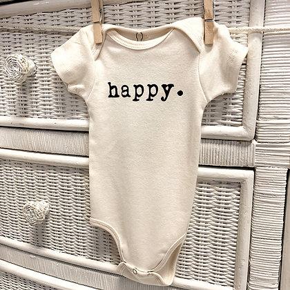 """Organic """"Happy""""Onesie"""