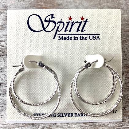 """""""Spirit"""" Silver Diamond Cut Earrings"""