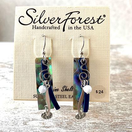 """Silver Forest"" Genuine Shell Earrings"