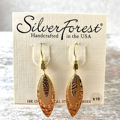 """Silver Forest"" Gold Hammered Earrings"