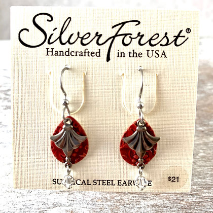 """""""Silver Forest"""" Red & Silver Earrings"""