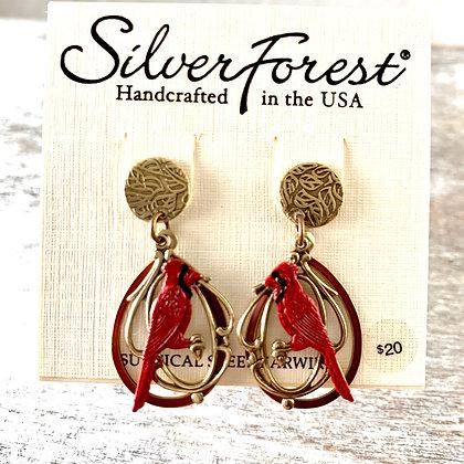 """Silver Forest"" Cardinal Earrings"