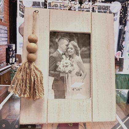 Ivory Wooden Bead Tassle Frame