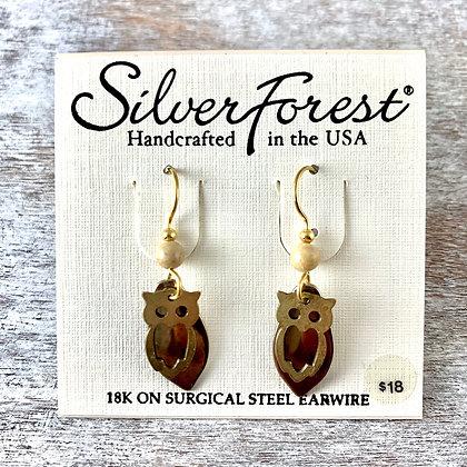 """""""Silver Forest"""" Owl Earrings"""