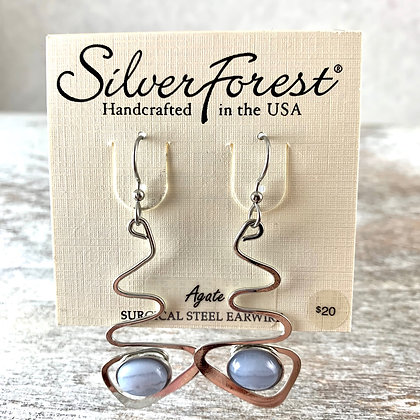 """Silver Forest"" Agate Earrings"