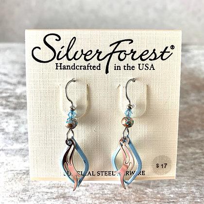 """""""Silver Forest"""" Light Blue & Silver Earrings"""
