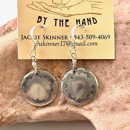 """Hand Stamped Silver Earrings by """"Jada"""""""